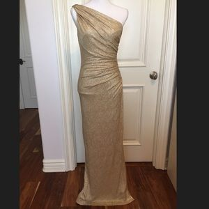 Betsy & Adam Gold Gown w/ Brooch & Slit 6